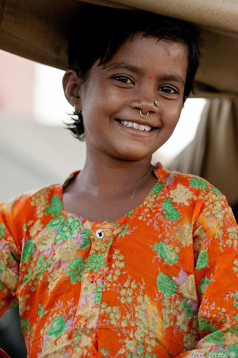 Retrato de niña en la india